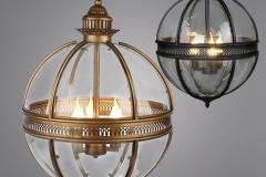 Đèn thả quả cầu đồng khung kính dáng cổ điển D450 TL-CU158
