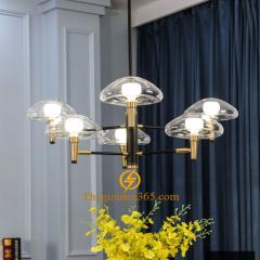 Đèn chùm hiện đại hợp kim mạ đồng 6 bóng Led G9 chao pha lê trắng D860 DC273-VAB06