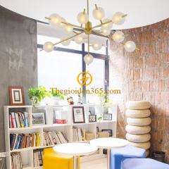 Đèn chùm thả trang trí phòng khách hiện đại mạ đồng vàng 15 chao thủy tinh hổ phách D1000 DC-PA-9315