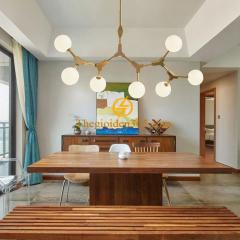 Đèn chùm thả trang trí bàn ăn cành táo thân vàng 7 chao thủy tinh trắng đục TL-PA-J007