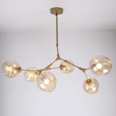 Đèn thả nghệ thuật độc đáo cành táo thân vàng 6 chao thủy tinh hổ phách TL-LIND06V-155