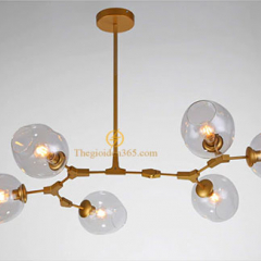 Đèn thả nghệ thuật độc đáo cành táo thân vàng 6 chao thủy tinh màu khói TL-LIND06V-155