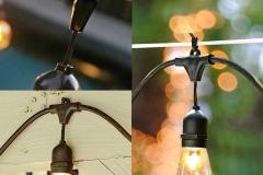 Đèn dây đui thả trang trí ngoài trời chống nước E27 20 bóng 10m