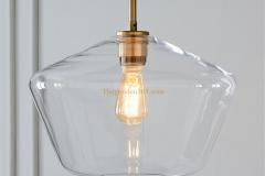 Đèn thả trang trí kiểu Châu Âu chao thủy tinh pha đồng TLPD01