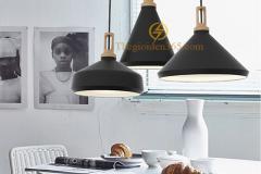 Bộ đèn thả trang trí chao sắt đen, lòng trắng đui gỗ sơn tĩnh điện TL-240DE-03