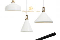 Bộ đèn thả trang trí chao sắt trắng, lòng trắng đui gỗ sơn tĩnh điện TL-240TR-03