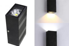 Đèn led hắt tường ngoài trời chữ nhật 2 đầu vỏ đen sần 6w trang trí nội ngoại thất TL-HT06-02B