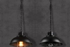 Đèn thả trang trí Vintages chao đen chụp thủy tinh rọ sắt phong cách Châu Âu D300 TL-080DE-300