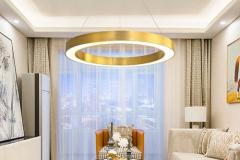 Đèn thả trần Led vòng tròn D400 thân inox mạ đồng vàng H30mm TL-RMDB01-212A