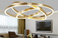 Bộ đèn thả trần Led 3 vòng tròn thân inox sơn đồng vàng xước H30mm TL-RVX03-212A-S