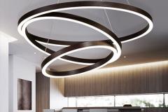 Bộ đèn thả trần Led 3 vòng tròn thân inox sơn màu cafe xước H30mm TL-RVX03-212A-S