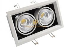 Đèn led âm trần cao cấp hộp vuông đôi vỏ đen viền chỉ trắng lõm 2x7w chip COB TLV-ACOB-7W003