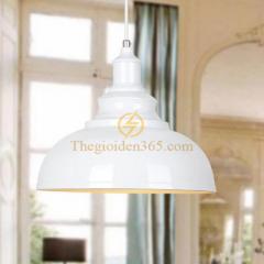 Đèn thả trang trí chao sắt trắng, lòng trắng sơn tĩnh điện phong cách Châu Âu D300 TL-199TR-300