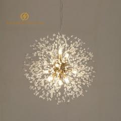 Đèn thả pha lê trang trí bàn ăn độc đáo phong cách Bắc Âu thân vàng Gold 16 bóng Led TL267-G16