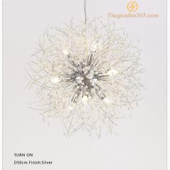 Đèn thả pha lê trang trí bàn ăn độc đáo phong cách Bắc Âu thân bạc Silver 9 bóng Led TL267-S9