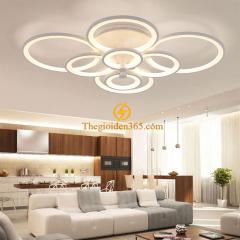 Đèn led mâm hiện đại gắn trần 8 cánh tròn trang trí có điều khiển từ xa TL-ML014