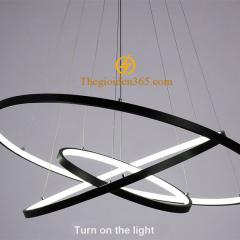 Đèn thả trần Led 3 vòng tròn đen hiện đại trang trí bàn ăn TL-R3V-DE1