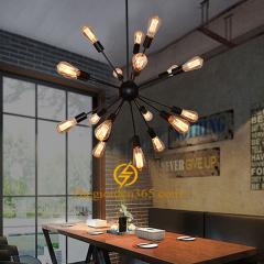 Đèn chùm thả hiện đại Loft vỏ đen 18 bóng đui E27 TL-CF136