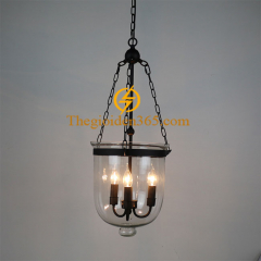 Đèn thả nghệ thuật Retro chao thủy tinh trắng độc đáo 3 bóng E14 D250 TL-CF118-B03