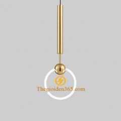 Đèn thả Nordic thân inox mạ đồng vàng chao thủy tinh tròn mờ D200 TL-PK286