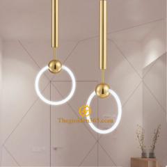Đèn thả Nordic thân inox mạ đồng vàng chao thủy tinh tròn mờ D300 TL-PK286