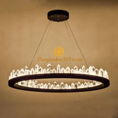 Đèn thả trần Pha lê K5 Led tròn đen hiện đại trang trí cao cấp D600 TL-3V295A2-DE