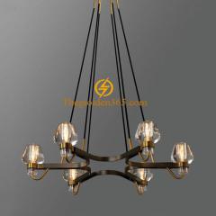 Đèn chùm thả 6 bóng Led G9 thân đồng vàng D910 DC-291V