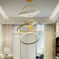Đèn thả Led 5 vòng tròn vàng hiện đại thông tầng cầu thang TL-R5V-GOLD1