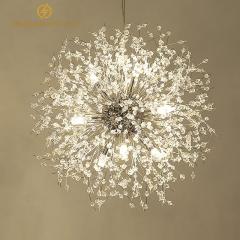 Đèn thả pha lê trang trí bàn ăn độc đáo phong cách Bắc Âu thân bạc Silver 16 bóng Led TL267-S16