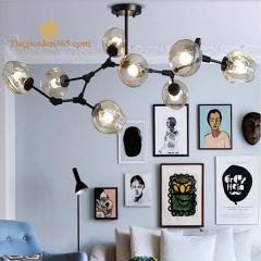 Đèn thả nghệ thuật độc đáo cành táo thân đen 8 chao thủy tinh màu hổ phách TL-LIND08B-155